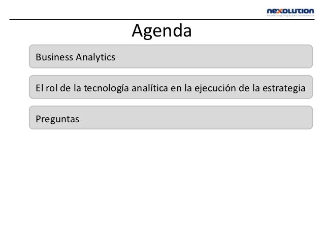 Agenda Business Analytics El rol de la tecnología analítica en la ejecución de la estrategia Preguntas