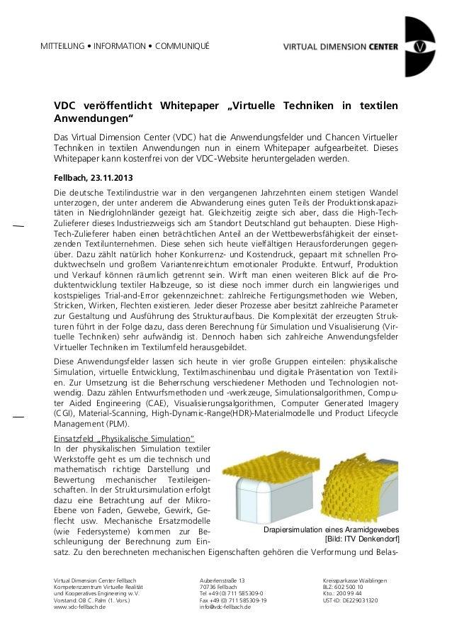"""MITTEILUNG • INFORMATION • COMMUNIQUÉ  VDC veröffentlicht Whitepaper """"Virtuelle Techniken in textilen Anwendungen"""" Das Vir..."""