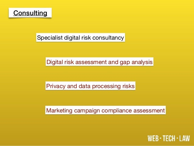 Consulting Digital risk assessment and gap analysis Privacy and data processing risks Marketing campaign compliance assess...
