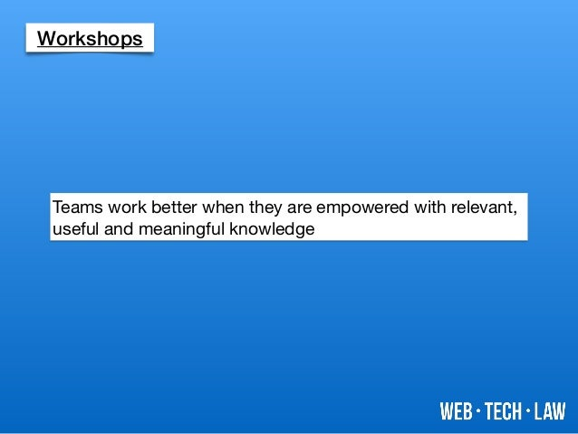 Workshops Teams work better when they are empowered with relevant, useful and meaningful knowledge