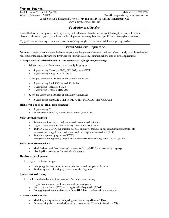 Resume for Wayne Farmer PDF