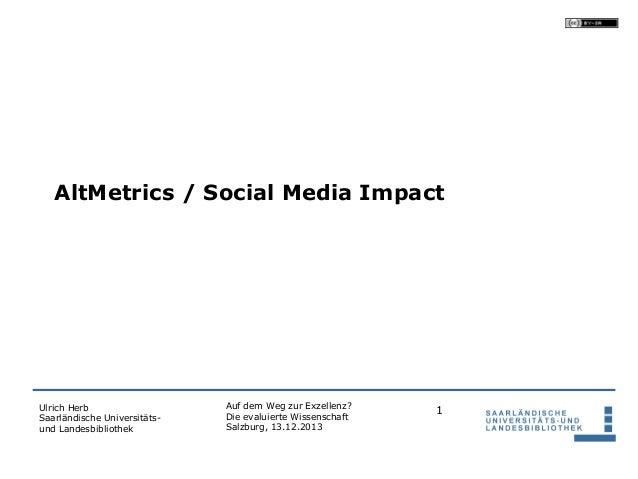 AltMetrics / Social Media Impact  Ulrich Herb Saarländische Universitätsund Landesbibliothek  Auf dem Weg zur Exzellenz? D...