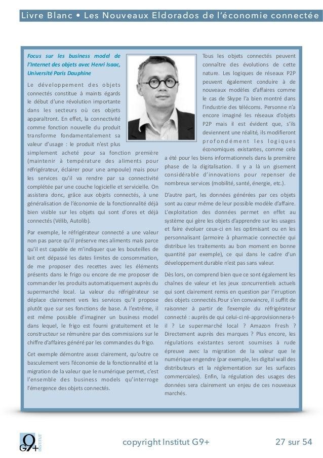 ;  Livre Blanc • Les Nouveaux Eldorados de l'économie connectée  Focus* sur* les* business* model* de* l'Internet*des*obje...