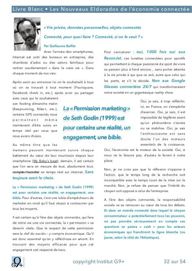 ;  Livre Blanc • Les Nouveaux Eldorados de l'économie connectée ! «Vie privée, données personnelles, objets connectés Con...