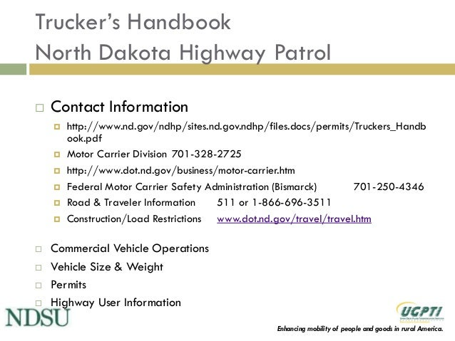 North dakota truck size and weight education program for Chp motor carrier safety unit