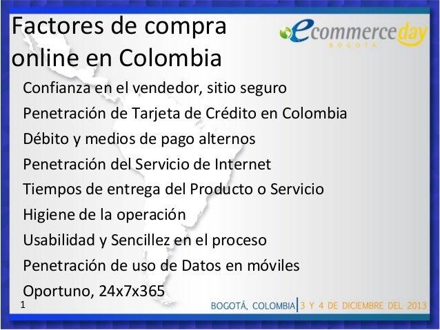 Factores de compra online en Colombia Confianza en el vendedor, sitio seguro Penetración de Tarjeta de Crédito en Colombia...