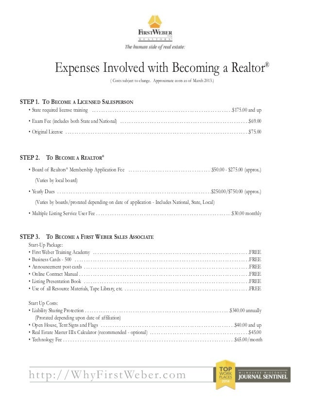 10. http://WhyFirstWeber.com Expenses Involved with Becoming a Realtor ...