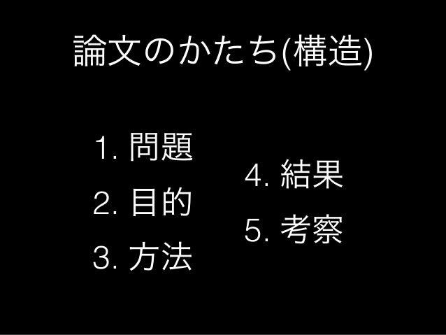 論文のかたち(構造)1. 問題        4. 結果2. 目的        5. 考察3. 方法