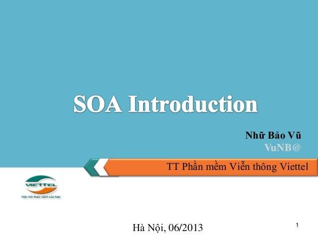 1 TT Phần mềm Viễn thông Viettel Nhữ Bảo Vũ VuNB@ Hà Nội, 06/2013