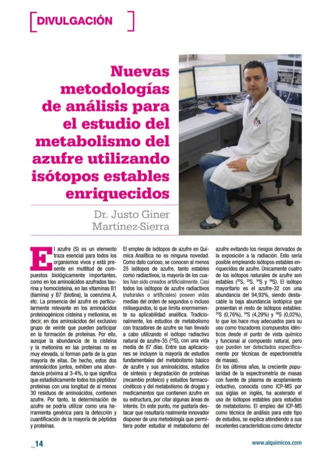 Nuevas metodologías de análisis para el estudio del metabolismo del azufre utilizando isótopos estables enriquecidos