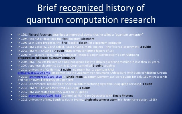 quantum computers research papers Quantum computing is a subject that assembles ideas from classical quantum physics, information theory, and computer science this paper describes the connection between information theory and quantum mechanics.