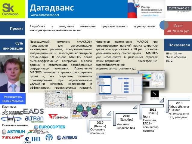 Проект Суть инновации 2010 (Январь) Основание компании 2010 (Декабрь) Участник Сколково №4 2011 (Июнь) Грант Сколково, EAD...