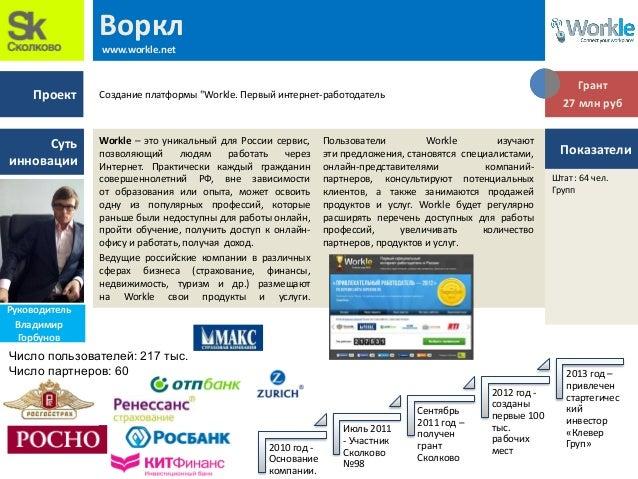 Проект Суть инновации Воркл www.workle.net Workle – это уникальный для России сервис, позволяющий людям работать через Инт...