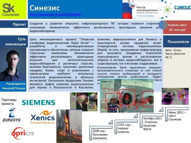 """Проект Суть инновации Синезис http://community.sk.ru/net/1110186/ Цель инновационного проекта """"Открытая платформа видеоана..."""