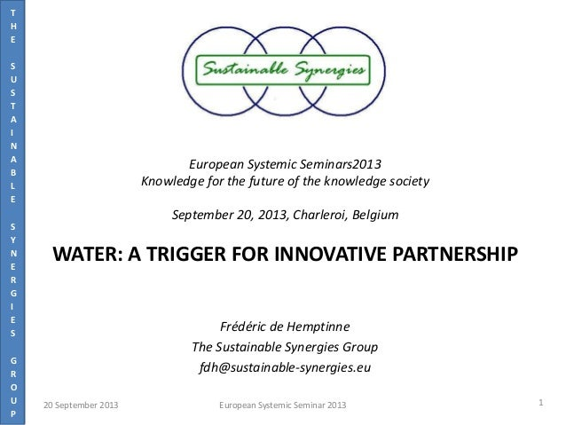 T H E S U S T A I N A B L E S Y N E R G I E S G R O U P European Systemic Seminars2013 Knowledge for the future of the kno...