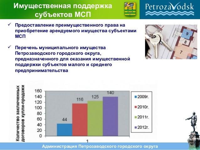 Администрация Петрозаводского городского округа Имущественная поддержка субъектов МСП  Предоставление преимущественного п...