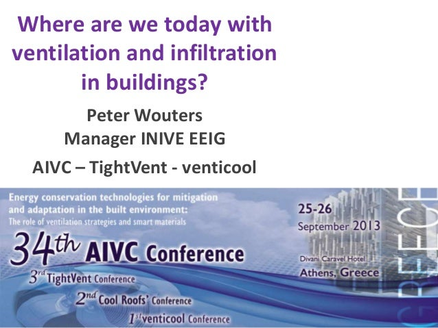 Where are we today with ventilation and infiltration in buildings? Peter Wouters Manager INIVE EEIG AIVC – TightVent - ven...