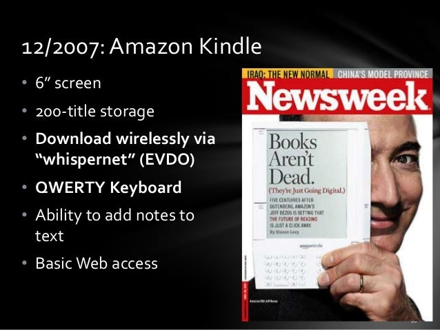 "12/2007: Amazon Kindle • 6"" screen • 200-title storage • Download wirelessly via ""whispernet"" (EVDO) • QWERTY Keyboard • A..."