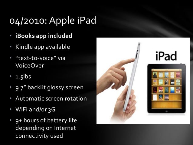 """04/2010: Apple iPad • iBooks app included • Kindle app available • """"text-to-voice"""" via VoiceOver • 1.5lbs  • 9.7"""" backlit ..."""
