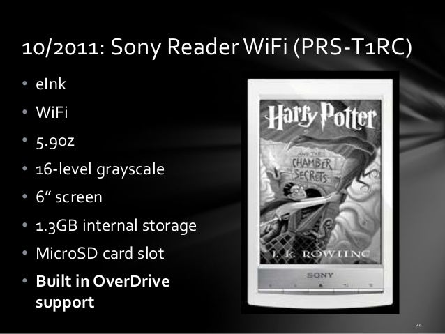 """10/2011: Sony Reader WiFi (PRS-T1RC) • eInk • WiFi • 5.9oz • 16-level grayscale  • 6"""" screen • 1.3GB internal storage • Mi..."""