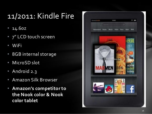 """11/2011: Kindle Fire • 14.6oz • 7"""" LCD touch screen • WiFi • 8GB internal storage • MicroSD slot • Android 2.3 • Amazon Si..."""
