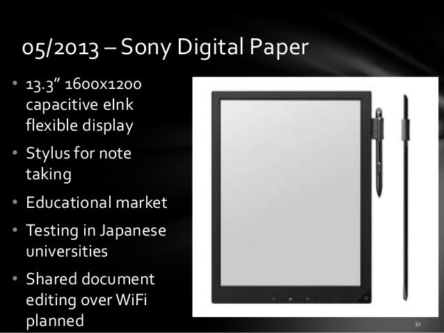 """05/2013 – Sony Digital Paper • 13.3"""" 1600x1200 capacitive eInk flexible display • Stylus for note taking  • Educational ma..."""