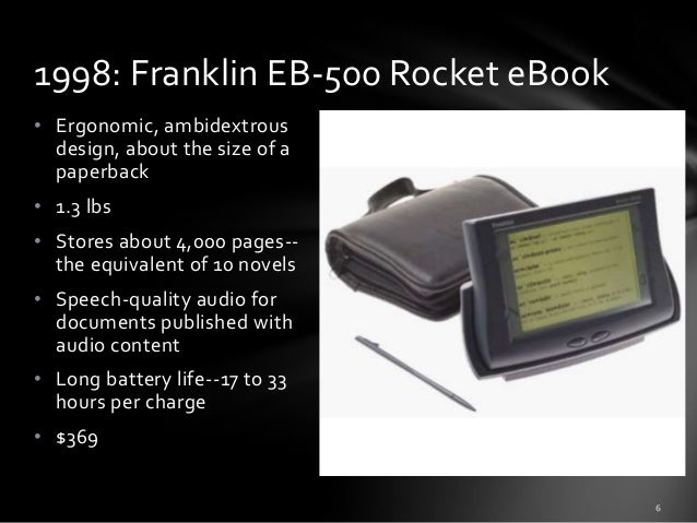 1998: Franklin EB-500 Rocket eBook • Ergonomic, ambidextrous design, about the size of a paperback • 1.3 lbs • Stores abou...