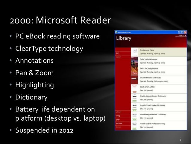 2000: Microsoft Reader • PC eBook reading software • ClearType technology • Annotations • Pan & Zoom  • Highlighting • Dic...