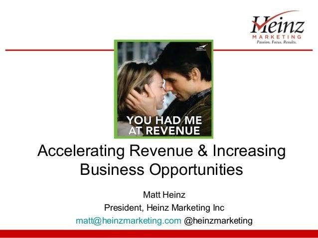 Accelerating Revenue & Increasing Business Opportunities Matt Heinz President, Heinz Marketing Inc matt@heinzmarketing.com...
