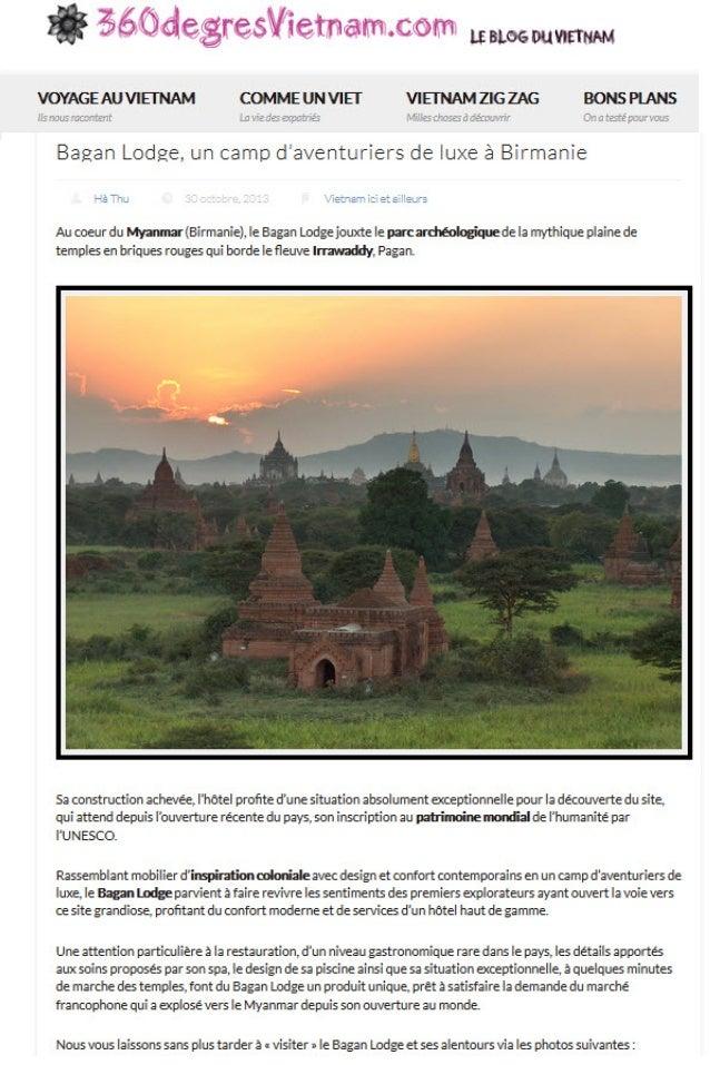 Bagan Lodge, un camp d'aventuriers de luxe à Birmanie - 360 Degrés Vietnam