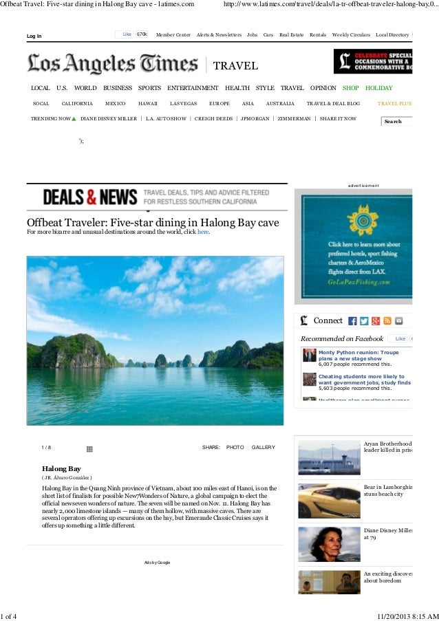 Offbeat Travel: Five-star dining in Halong Bay cave - latimes.com  1 of 4  Like  Log In  670k  Member Center  http://www.l...