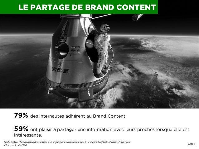 LE PARTAGE DE BRAND CONTENT  79% des internautes adhérent au Brand Content. 59% ont plaisir à partager une information ave...
