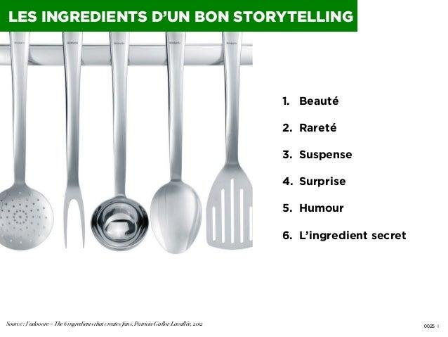 LES INGREDIENTS D'UN BON STORYTELLING  1. Beauté 2. Rareté 3. Suspense 4. Surprise 5. Humour 6. L'ingredient secret ...
