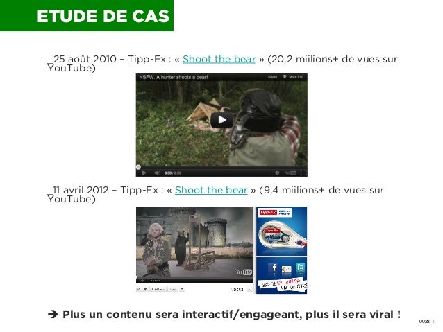 ETUDE DE CAS _25 août 2010 – Tipp-Ex : « Shoot the bear» (20,2 miilions+ de vues sur YouTube)  _11 avril 2012 – Tipp-Ex :...