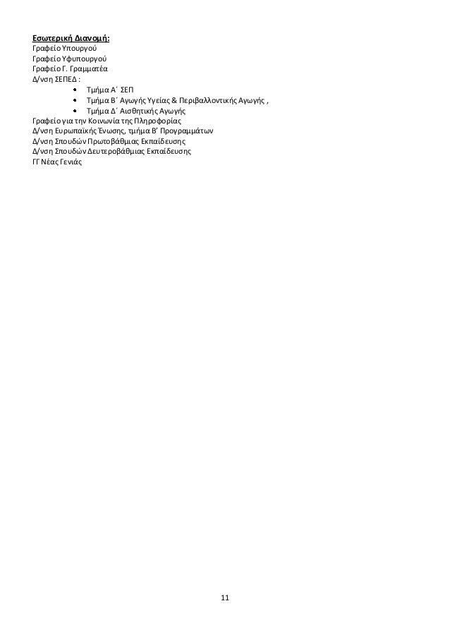 Εσωτερική Διανομή: Γραφείο Υπουργού Γραφείο Υφυπουργού Γραφείο Γ. Γραμματέα Δ/νση ΣΕΠΕΔ : Τμήμα Α΄ ΣΕΠ Τμήμα Β΄ Αγωγής Υγε...