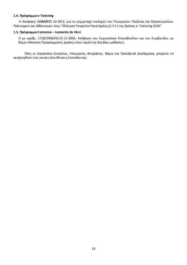 1.4. Πρόγραμμα e-Twinning H Απόφαση 116460/ΚΠ/1-10-2012, για τη συμμετοχή στελεχών του Υπουργείου Παιδείας και Θρησκευμάτω...