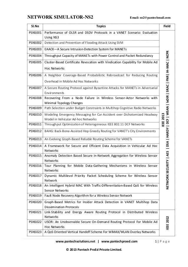 NETWORK SIMULATOR-NS2 Email: ns2@pantechmail.com www.pantechsolutions.net | www.pantechproed.com 1 | P a g e © 2013 Pantec...