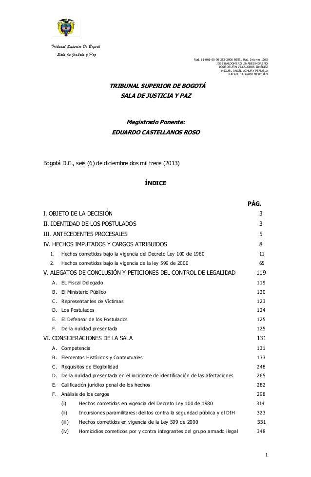 Tribunal Superior De Bogotá  Sala de Justicia y Paz  Rad. 11-001-60-00 253-2006 80531 Rad. Interno 1263  JOSÉ BALDOMERO LI...