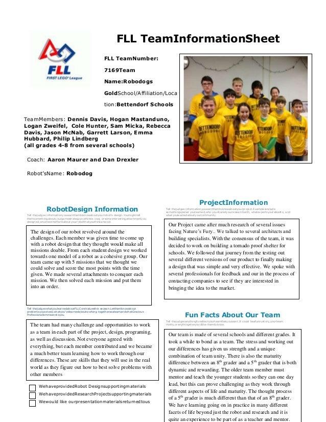 FLL TeamInformationSheet FLL TeamNumber: 7169Team Name:Robodogs GoldSchool/Affiliation/Loca tion:Bettendorf Schools TeamMe...