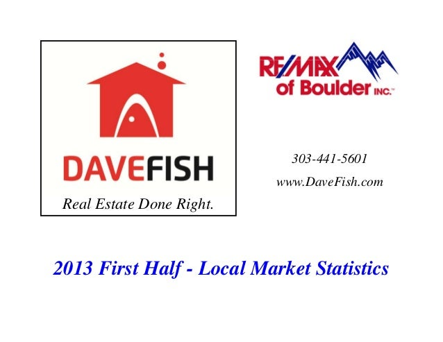 Real Estate Done Right. 303-441-5601 www.DaveFish.com 2013 First Half - Local Market Statistics