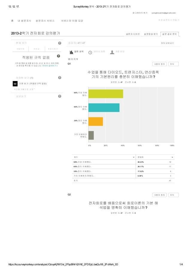 13. 12. 17.  SurveyMonkey 분석 - 2013-2학기 전자회로 강의평가 업그레이드 하기  홈  내 설문조사  설문조사 서비스  + 새 설문조사 만들기  서비스와 이용 요금  2013-2학기 전자회로 강...
