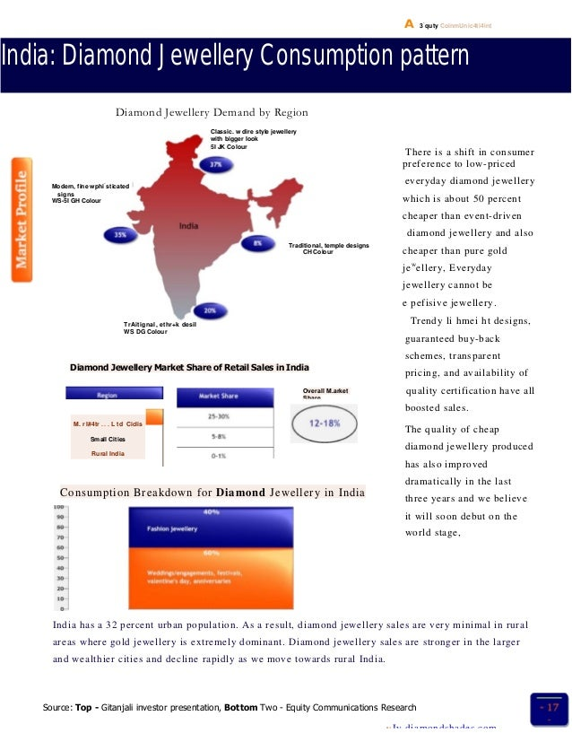 A 3 . quty CoinmUnic4ti4int India: Diamond Jewellery Consumption pattern Diamond Jewellery Demand by Region There is a shi...
