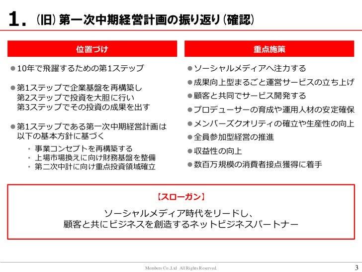 株式会社メンバーズ(新)第一次中期経営計画(2013年3月期-2015年3月期) Slide 3