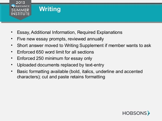 common application essay word count 2013 Common application essay questions for 2013-2014 common application word limits you must submit only one essay, and it must be no more than 650 words.
