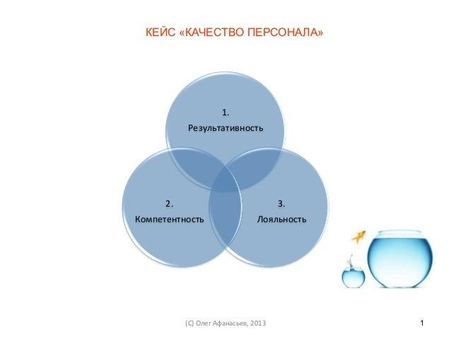 КЕЙС «КАЧЕСТВО ПЕРСОНАЛА»                    1.              Результативность       2.                              ...