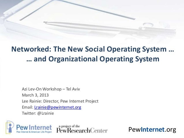 Networked: The New Social Operating System …   … and Organizational Operating System  Azi Lev-On Workshop – Tel Aviv  Marc...