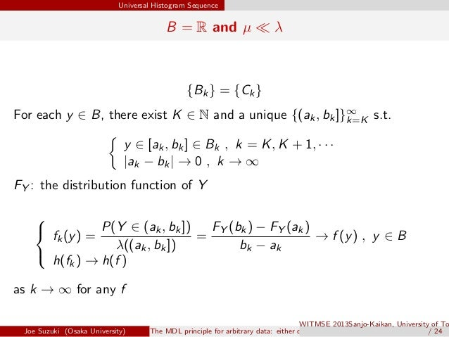 Universal Histogram Sequence B = R and µ ≪ λ {Bk} = {Ck} For each y ∈ B, there exist K ∈ N and a unique {(ak, bk]}∞ k=K s....