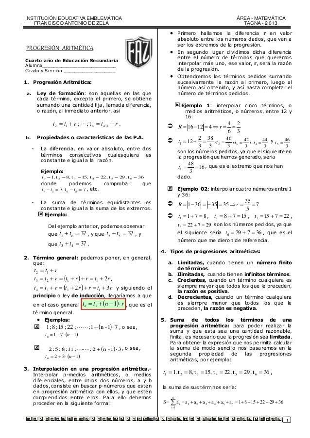 Práctica de matemática - progresión Aritmética