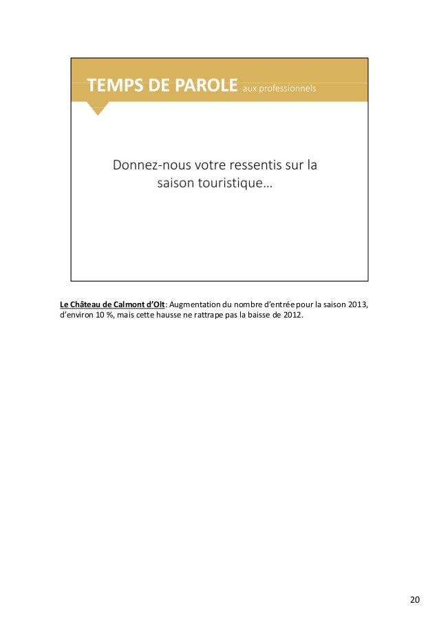 Le Château de Calmont d'Olt: Augmentation du nombre d'entrée pour la saison 2013, d'environ 10 %, mais cette hausse ne rat...