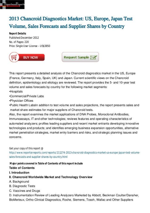 2013 Chancroid Diagnostics Market: US, Europe, Japan TestVolume, Sales Forecasts and Supplier Shares by CountryReport Deta...